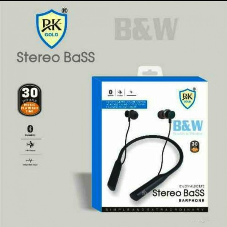 R K Gold Stereo Bass Bluetooth Ear Phone