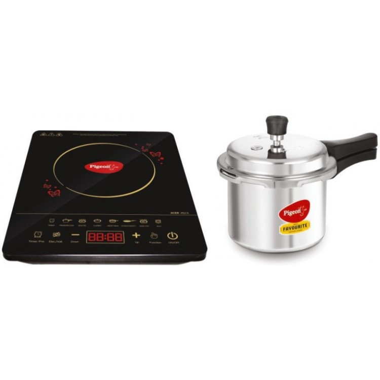 Pigeon Acer Plus Induction Cooktop with IB 3 Ltr Pressure Cooker  Combo  (Black, Touch Panel)