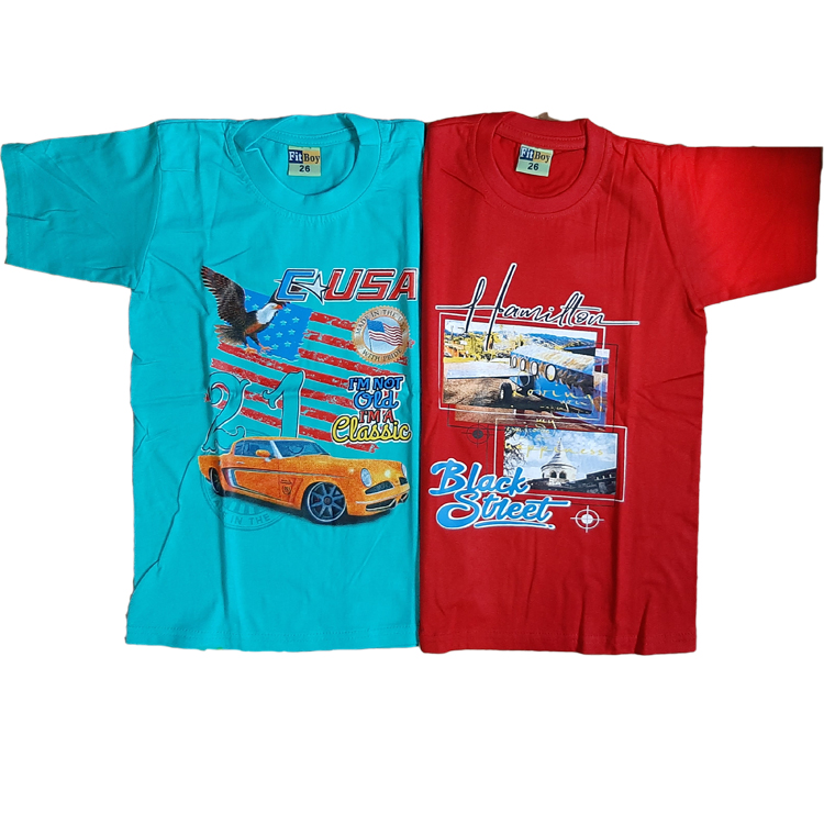 Combo Of Kids T Shirt (Red/Sky Blue)